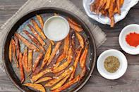 """<p>Making a fresh batch of fries at home is all you need to do to take your meal to the next level. These sweet potato fries are crispy on the outside and tender on the inside, meaning you'll have restaurant quality results without the hassle of waiting for takeout.</p> <p><strong>Get the recipe</strong>: <a href=""""https://www.themediterraneandish.com/baked-sweet-potato-fries-zaatar/"""" class=""""link rapid-noclick-resp"""" rel=""""nofollow noopener"""" target=""""_blank"""" data-ylk=""""slk:air fryer sweet potato fries with za'atar and tahini"""">air fryer sweet potato fries with za'atar and tahini</a></p>"""