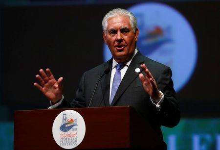 U.S. Secretary of State Tillerson makes a speech during the opening ceremony of the 22nd World Petroleum Congress in Istanbul
