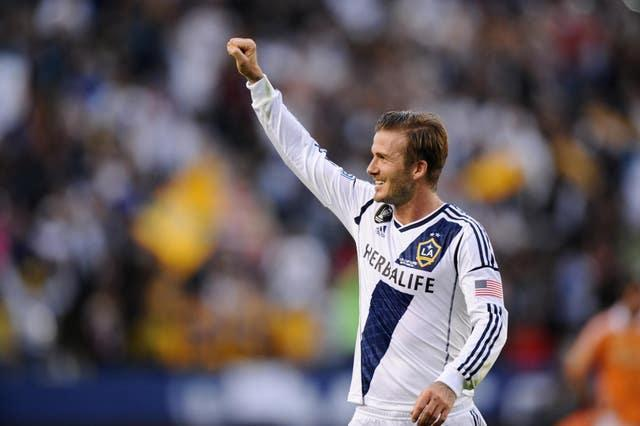 David Beckham celebrates during the MLS Cup Final for the Los Angeles Galaxy
