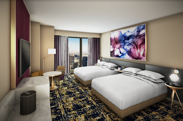A deluxe queen room at the Las Vegas Hilton at Resorts World Las Vegas.