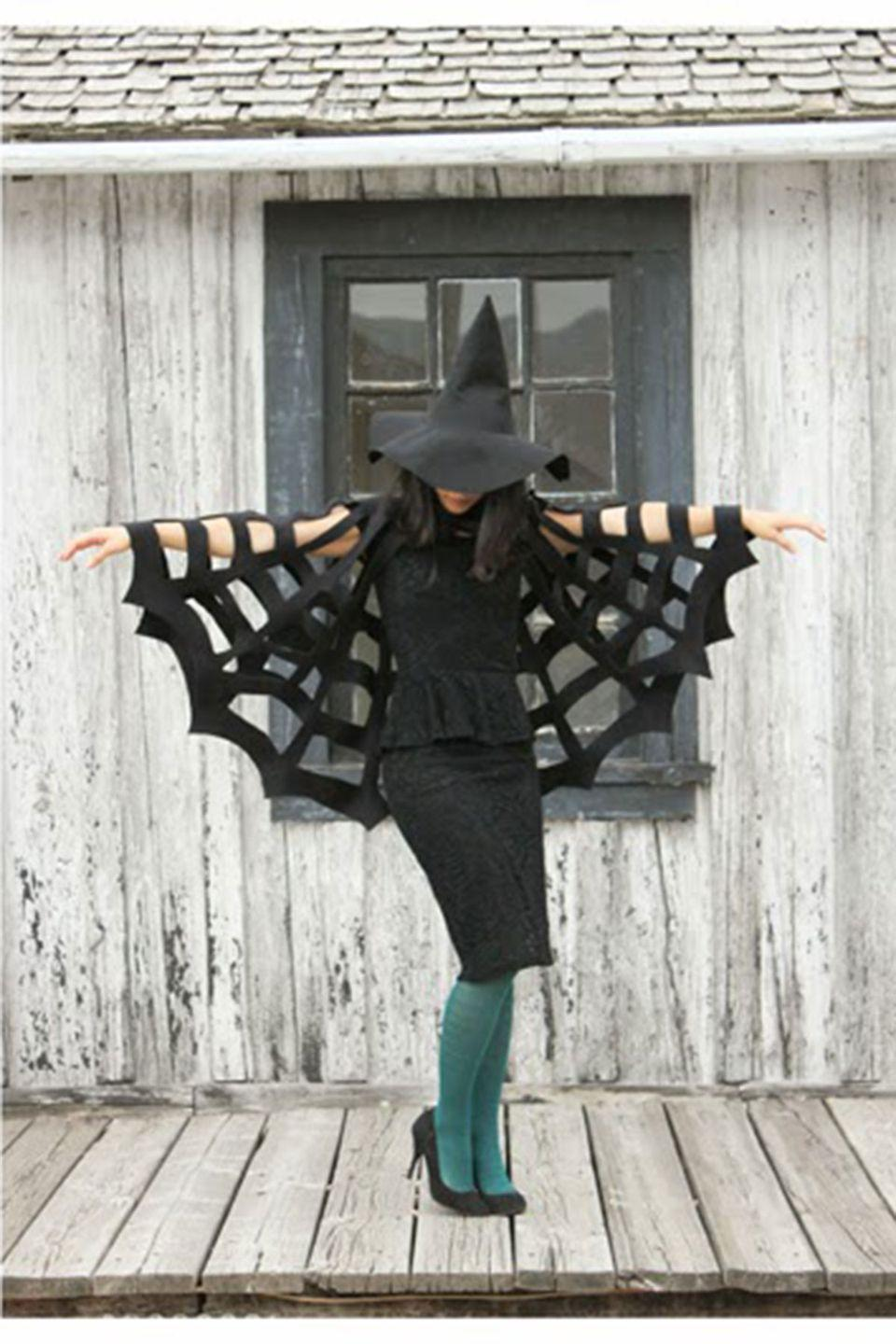 """<p>A cute cutout cape gets the creepy-crawly point across. </p><p><strong>Get the tutorial at <a href=""""http://www.deliacreates.com/no-sew-halloween-spiderweb-cape-tutorial/"""" rel=""""nofollow noopener"""" target=""""_blank"""" data-ylk=""""slk:Delia Creates"""" class=""""link rapid-noclick-resp"""">Delia Creates</a>. </strong></p><p><strong><a class=""""link rapid-noclick-resp"""" href=""""https://www.amazon.com/Double-Sided-Sweatshirt-Fleece-Fabric/dp/B06XJS4YDD/?tag=syn-yahoo-20&ascsubtag=%5Bartid%7C10050.g.4571%5Bsrc%7Cyahoo-us"""" rel=""""nofollow noopener"""" target=""""_blank"""" data-ylk=""""slk:SHOP FLEECE FABRIC"""">SHOP FLEECE FABRIC</a></strong></p>"""