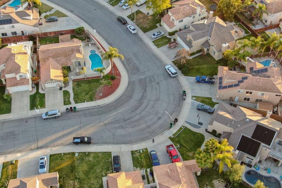 An aerial view of Menifee neighborhood, a residential subdivision vila in Riverside County, California.