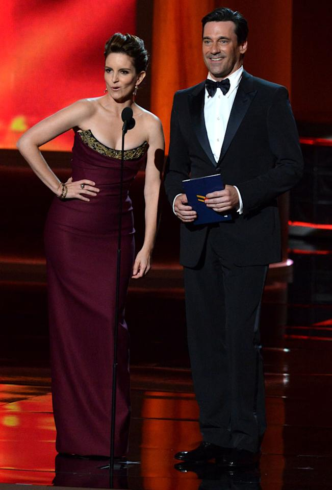 Tina Fey and Jon Hamm onstage at the 64th Primetime Emmy Awards at the Nokia Theatre in Los Angeles on September 23, 2012.