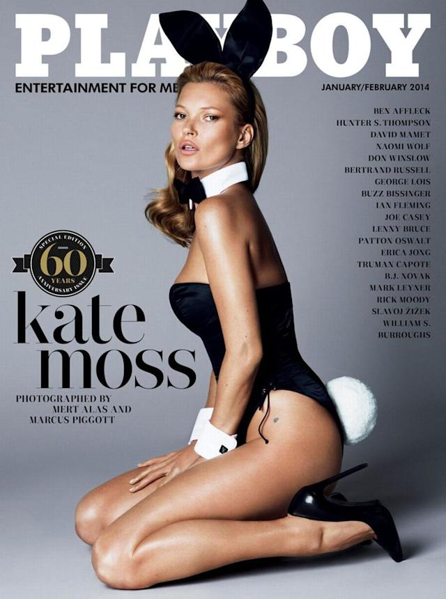 """<p>Surprisingly, Kate Moss never appeared on a <em>Playboy</em> cover"""" — until the 60th anniversary issue, which saw the supermodel don the iconic ears and tail. (Photo: Playboy) </p>"""