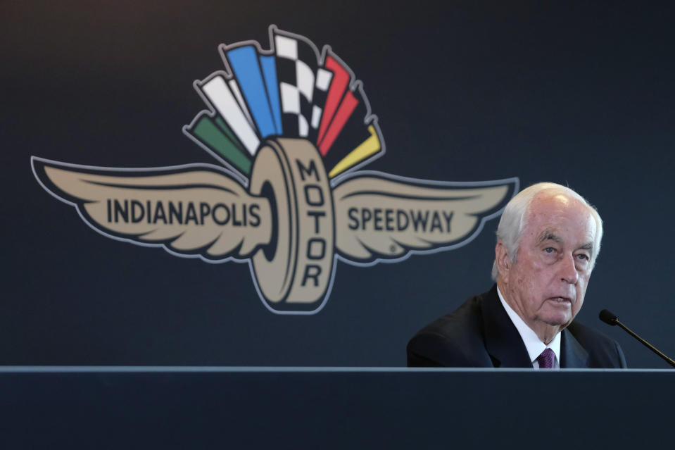 FILE - In this Monday, Nov. 4, 2019, file photo, Penske Corporation Chairman Roger Penske responds to a question about the sale of the Indianapolis Motor Speedway, IndyCar and related business from Hulman & Company to Penske Corporation, at a news conference in Indianapolis. Penske this week celebrated the crowning achievement of a career so rich in America's fabric that he last month received the Presidential Medal of Freedom by buying iconic Indianapolis Motor Speedway. On Sunday he will watch two of his drivers try to make NASCAR's championship race. (AP Photo/AJ Mast, File)