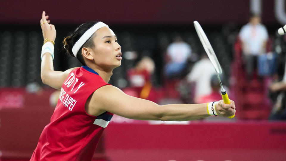 Taiwan's Tai Tzu Ying plays against Qi Xuefei of France plays against Britain's Kristy Gilmour during their women's singles group stage badminton match at the 2020 Summer Olympics, Wednesday, July 28, 2021, in Tokyo, Japan. (AP Photo/Dita Alangkara)