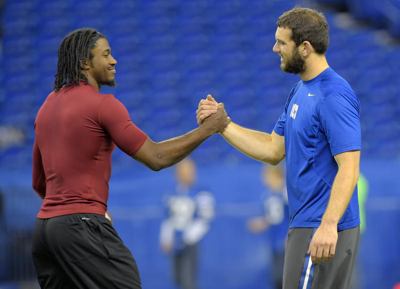 Only one QB is still left standing among Robert Griffin III and Andrew Luck from the 2012 NFL draft, and it's not the one you might have expected. (Getty Images)