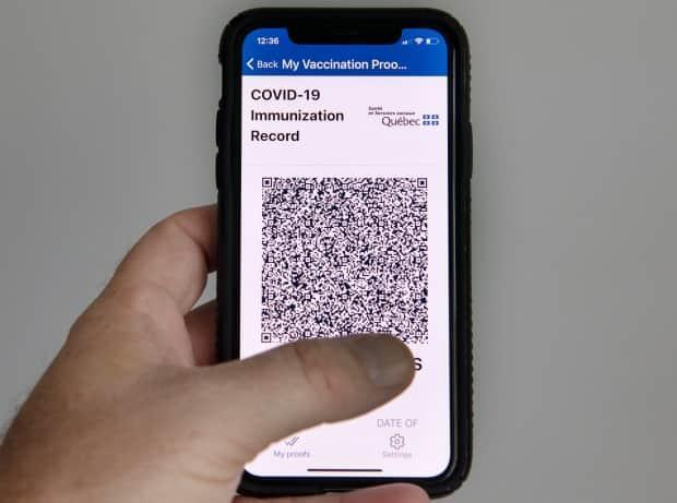 The Quebec government's new vaccine passport can be shown with an app, as a PDF or in print. (Graham Hughes/The Canadian Press - image credit)