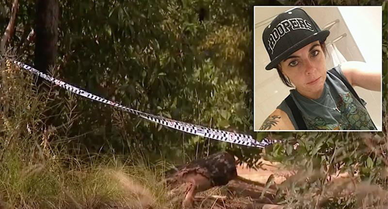 Pictured is police tape in Menai bushland where Najma Carroll (who is insetted) was found.