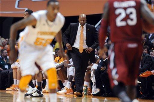 Tennessee coach Cuonzo Martin looks on as his team takes on South Carolina during the first half of an NCAA college basketball game at Thompson-Boling Arena in Knoxville, Tenn., Wednesday, Feb. 8, 2012. (AP Photo/Knoxville News Sentinel, Adam Brimer)