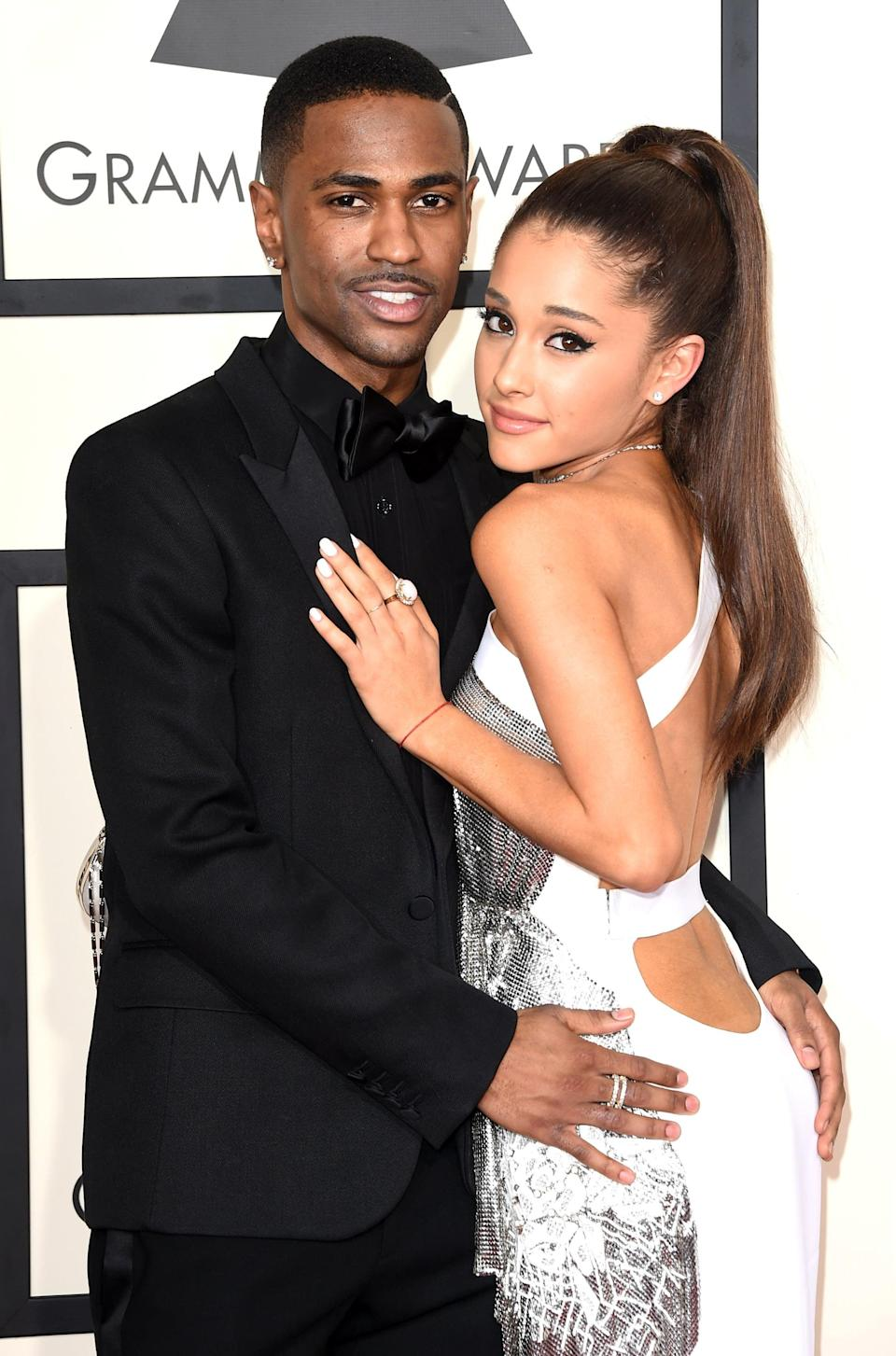 """<p>Big Sean struck up a romance with Ariana after calling off <a href=""""https://www.usmagazine.com/celebrity-news/news/naya-rivera-and-big-sean-call-off-engagement-201494/"""" class=""""link rapid-noclick-resp"""" rel=""""nofollow noopener"""" target=""""_blank"""" data-ylk=""""slk:his wedding to Naya Rivera"""">his wedding to Naya Rivera</a> in 2014. The pair made <a href=""""https://www.popsugar.com/celebrity/Ariana-Grande-Big-Sean-Holding-Hands-VMAs-35553023"""" class=""""link rapid-noclick-resp"""" rel=""""nofollow noopener"""" target=""""_blank"""" data-ylk=""""slk:their public debut"""">their public debut</a> as a couple when they were spotted holding hands at the MTV VMAs, and the singer even made a cameo in <a href=""""https://www.popsugar.com/celebrity/Ariana-Grande-Big-Sean-Kiss-Patience-Video-36843890"""" class=""""link rapid-noclick-resp"""" rel=""""nofollow noopener"""" target=""""_blank"""" data-ylk=""""slk:Big Sean's &quot;Patience&quot; video"""">Big Sean's """"Patience"""" video</a>. </p> <p>However, eight months later, Ariana and Big Sean called it quits in April 2015. """"They both deeply care for each other and remain close friends,"""" their reps told <strong>Us Weekly</strong> in a joint statement. """"We kindly ask that the media respect their wish for privacy regarding this personal matter at this time."""" While neither Big Sean nor Ariana ever revealed <a href=""""https://www.usmagazine.com/celebrity-news/news/ariana-grande-big-sean-split-after-8-months-of-dating-breakup-detail-2015204/?utm_source=popsugar.com&amp;utm_medium=referral&amp;utm_campaign=pubexchange_article"""" class=""""link rapid-noclick-resp"""" rel=""""nofollow noopener"""" target=""""_blank"""" data-ylk=""""slk:the reason for their breakup"""">the reason for their breakup</a>, sources said """"they made the decision to part ways because of their conflicting touring schedules.""""</p>"""