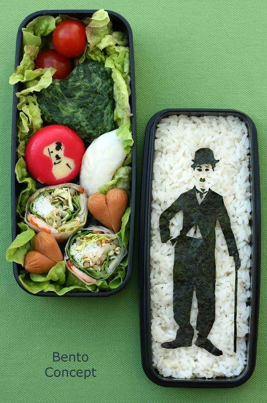 It would have taken a lot of time and effort to recreate this famous comedian. For those that don't know, bento is the Japanese style of packing a lunch 'to go' in a small box. Or in this case, two small boxes.