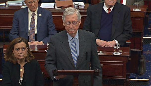 PHOTO: In this screengrab, Senate Majority Leader Mitch McConnell speaks during the impeachment trial of President Donald Trump at the Capitol on Jan. 31, 2020, in Washington. (Senate TV via Reuters)