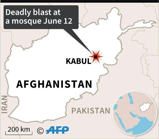 Map of Afghanistan locating a deadly blast at a mosque in Kabul Friday
