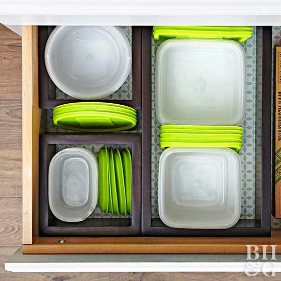 food storage organization overhead view