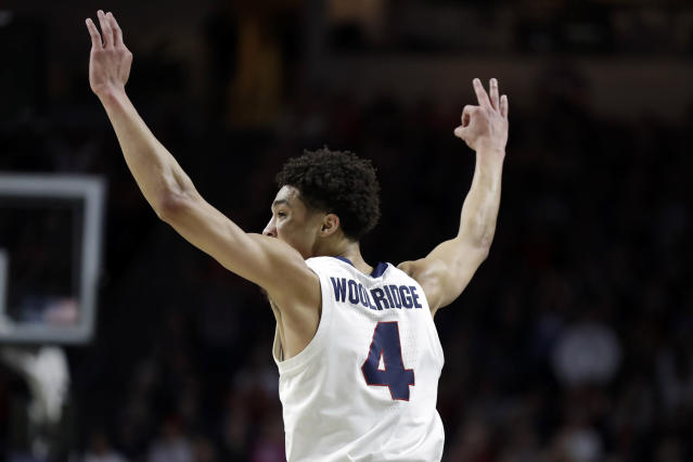 Gonzaga's Ryan Woolridge reacts after scoring a three-point basket during the first half of an NCAA college basketball game against San Francisco in the West Coast Conference men's tournament Monday, March 9, 2020, in Las Vegas. (AP Photo/Isaac Brekken)