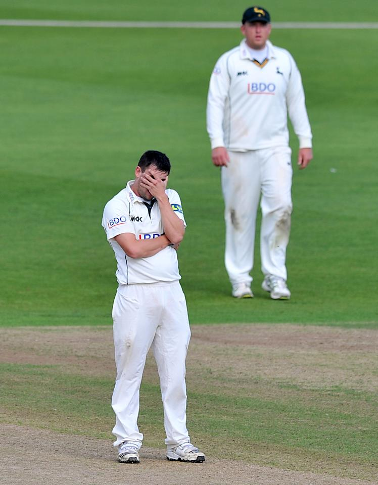 Nottinghamshire's Steven Mullaney reacts after having an appeal turned down during the LV= County Championship, Division One match at Trent Bridge, Nottingham.