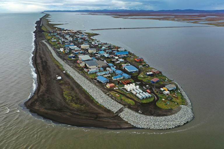 The village of Kivalina in Alaska, one of the coastal communities threatened by rising sea levels