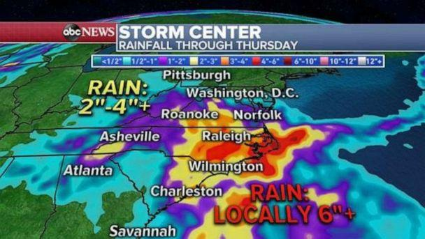 PHOTO: Forecast models are showing numerous rounds of rain and thunderstorms Tuesday, Wednesday and Thursday for much of the southeast U.S., especially in the Carolinas and Virginia. (ABC News)