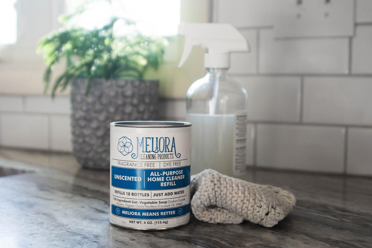 """<p>Inspired by the Latin word for """"better,"""" <a href=""""https://meliorameansbetter.com/"""">Meliora</a> founder Kate Jakubas is always striving to do just that: make the world a better and cleaner place with truly sustainable cleaning alternatives. Not only does a single set of cleaning solutions and a refillable glass spray bottle replace the need for 19 single-use plastic bottles, but the company—who eliminated all single-use plastic in their products this year—also takes pride in being completely transparent with consumers.</p> <p>""""We always disclose 100 percent of the ingredients in our products including fragrances, which still isn't required in the United States,"""" says Jakubas, who first had the idea for Meliora while studying for a Masters in Environmental engineering. Activated simply by adding water, <a href=""""https://meliorameansbetter.com/collections/homecleaning/products/all-purpose-home-cleaner"""">the multi-purpose cleaning concentrate</a> is available in plant-based scents or fragrance-free and is made from just four biodegradable ingredients, all mixed in the company's Chicago-based factory. """"We're setting a new industry standard for information,"""" says Jakubas. And if you didn't think it could get any better: A portion of every sale goes towards helping an environmental nonprofit.</p> <p><em><strong>Shop Now:</strong> Meliora All-Purpose Home Cleaner, $9.99 (refills from $9.99),</em> <a href=""""https://www.amazon.com/Meliora-Cleaning-Products-All-Purpose-Cleaner/dp/B01MV1CHO4/""""><em>amazon.com</em></a><em>.</em></p>"""