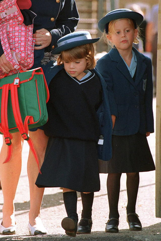 Eugenie on her first day at school in Upton House. (Getty Images)