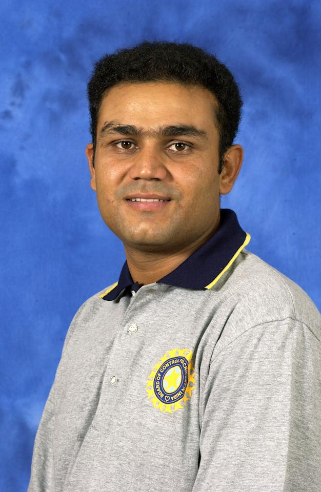 COLOMBO - 13 SEPTEMBER:  Portrait of Virender Sehwag of India taken before the ICC Champions Trophy in Colombo, Sri Lanka on September 13, 2002. (photo by Tom Shaw/Getty Images)