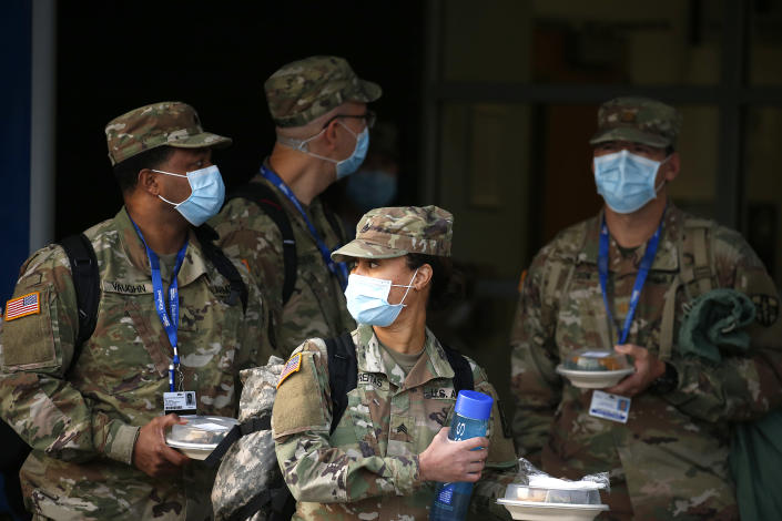 U.S. Army nurses preparing to leave Elmhurst Hospital in New York City. (John Lamparski/NurPhoto via Getty Images)