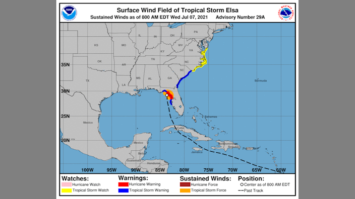 A map from the National Hurricane Center shows where tropical storm watches and warnings have been issued along the North Carolina and South Carolina coasts as of 8 a.m. Wednesday.