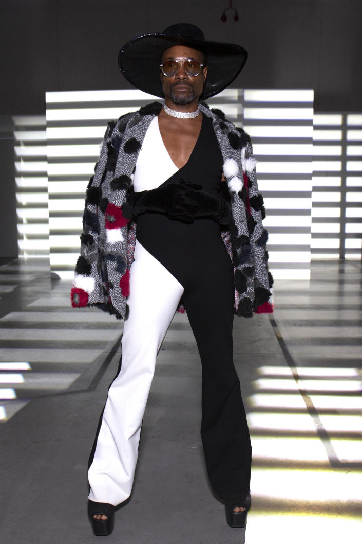 On Sunday, the actor opted for a black and white monochrome jumpsuit with a black cowboy hat at the PREEN by Thornton Bregazzi show [Photo: Getty Images]