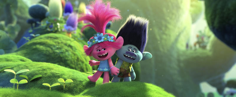 "This image released by DreamWorks Animation shows characters Branch, voiced by Justin Timberlake, right, and Poppy, voiced by Anna Kendrick in a scene from ""Trolls World Tour."" Most new movies that were headed to theaters have been postponed due to the pandemic. But this Universal Pictures release is heading straight to on-demand and digital rental beginning Friday. (DreamWorks Animation via AP)"