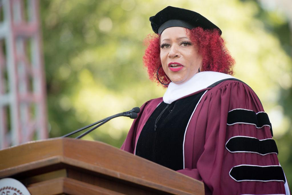 ATLANTA, GEORGIA - MAY 16: Author Nikole Hannah-Jones speaks on stage during the 137th Commencement at Morehouse College on May 16, 2021 in Atlanta, Georgia. (Photo by Marcus Ingram/Getty Images)