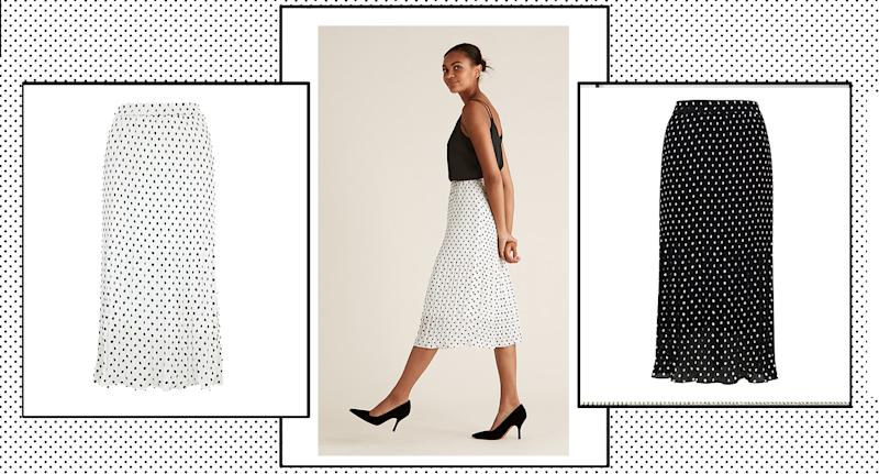M&S have restocked its popular polka dot midi skirt, and we predict it will sell out again sharpish. (M&S)