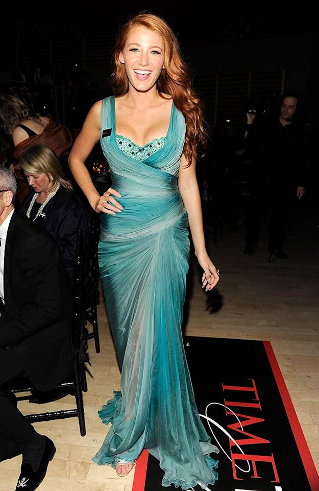 """Former blond Blake Lively channeled her inner Little Mermaid at this year's <i>TIME</i> 100 Gala, which was held at NYC's Lincoln Center. The """"Gossip Girl"""" star -- who recently became a redhead for an upcoming film with Alec Baldwin and Rory Culkin -- exclaimed, """"I don't really feel like myself with red hair ... I feel like Ariel!"""" In addition to her strawberry-hued 'do, Blake donned a stunning Zuhair Murad Couture gown that was undoubtedly under-the-sea chic. Kevin Mazur/<a href=""""http://www.wireimage.com"""" target=""""new"""">WireImage.com</a> - April 26, 2011"""