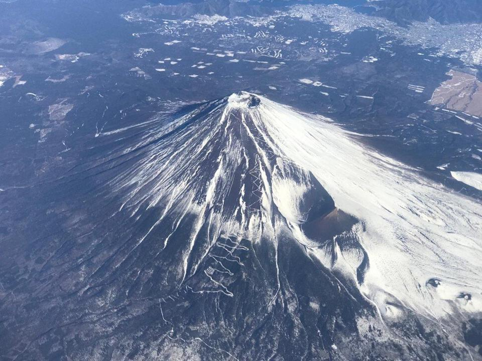 An aerial view of Mount Fuji. Photo: Neil Newman
