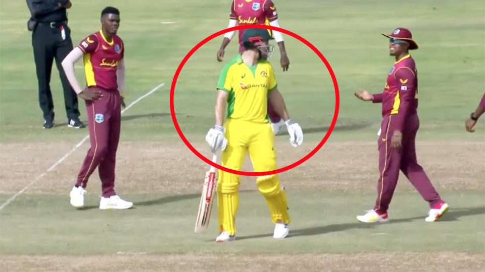 Mitch Marsh, pictured here walking but only after the West Indies opted for a review.