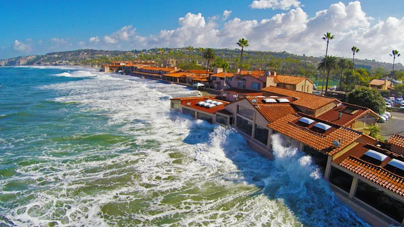 This is a picture of the king high tide crashing against this restaurant on the sand in la jolla shores. the king tide was at the peak in this photo at +7feet . is this a result of higher tides due to global warning.Today many coastal communities are seeing more frequent flooding during high tides. As sea level rises higher over the next 15 to 30 years, tidal flooding is expected to occur more often, cause more disruption, and even render some areas unusable .