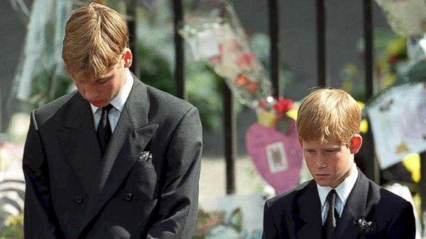 PHOTO: Prince William and Prince Harry, the sons of Diana, Princess of Wales, bowing their heads as their mother's coffin is taken out of Westminster Abbey, following her funeral service, Sept. 6, 1997. (Adam Butler/AFP/Getty Images)