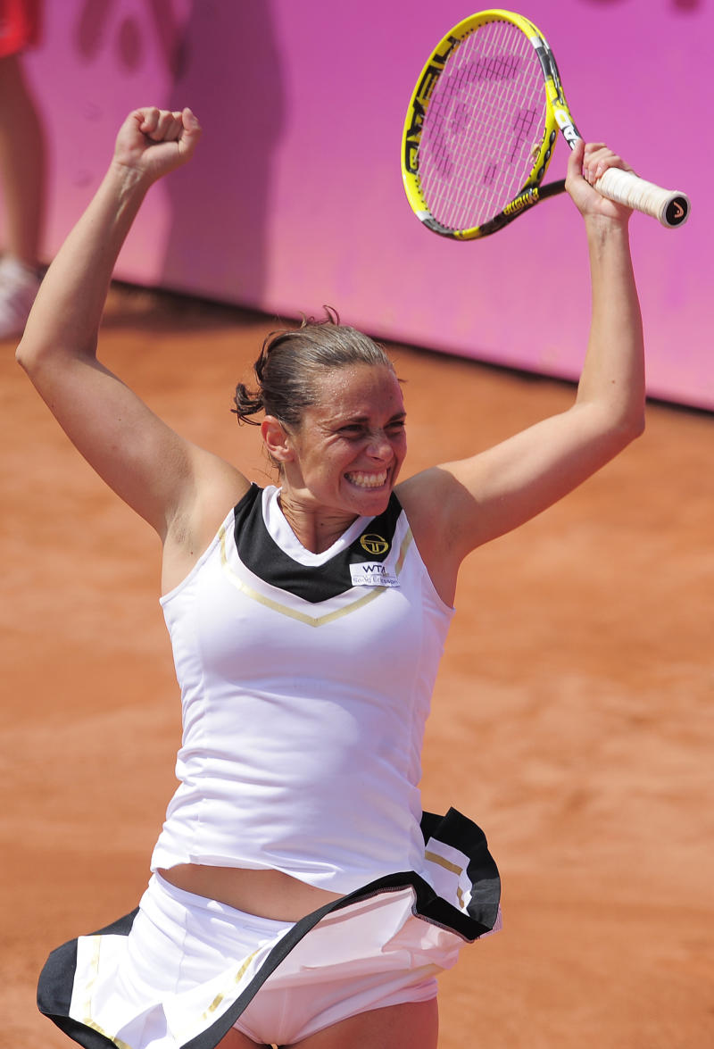 Roberta Vinci of Italy reacts after her victory over Czech Republic's Lucie Hradecka during the final match of the Barcelona Ladies Open in Barcelona, Spain, Saturday, April 30, 2011. Vinci won the match 4-6, 6-2, 6-2. (AP Photo/Manu Fernandez)