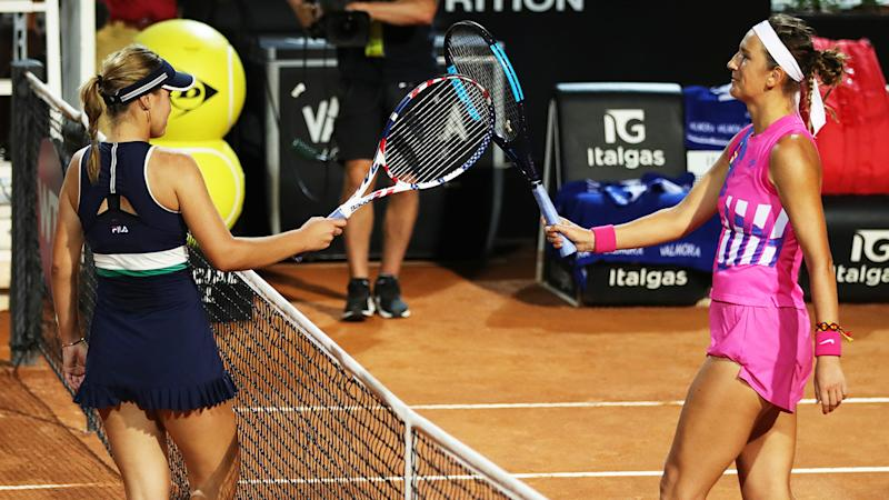 Victoria Azarenka and Sofia Kenin, pictured here after their match at the Italian Open.