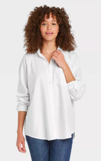 """<h2>Universal Thread Women's Raglan Long Sleeve Button-Down Shirt</h2><br><strong>The Best Relax-Fit White Button-Down</strong><br>As previously stated, the classic white button-down <em>will</em> go with anything — especially when it's a style featuring a relaxed fit that's designed to look casually elegant. Best of all? This one's only $20.<br><br><strong>The Hype:</strong> 4.4 out of 5 stars and 45 reviews on Target<br><br><strong>What They're Saying: </strong>""""This shirt is perfect, soft, and very comfy. It replaces one that I had for several years that developed frays and holes in the sleeves because I wore it so much. This one is taking its place and I am so happy with it so far."""" <br><br><strong>Universal Thread</strong> Women's Raglan Long Sleeve Button-Down Shirt, $, available at <a href=""""https://go.skimresources.com/?id=30283X879131&url=https%3A%2F%2Fwww.target.com%2Fp%2Fwomen-s-raglan-long-sleeve-button-down-shirt-universal-thread%2F-%2FA-82426514"""" rel=""""nofollow noopener"""" target=""""_blank"""" data-ylk=""""slk:Target"""" class=""""link rapid-noclick-resp"""">Target</a>"""