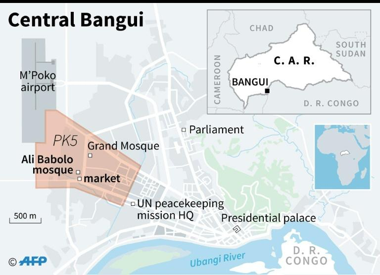 Map locating the PK5 district in Bangui (AFP Photo/Sophie RAMIS)