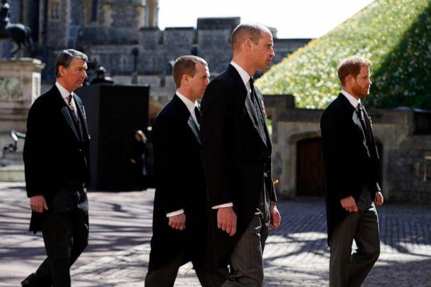 PHOTO: Vice-Admiral Sir Timothy Laurence, Peter Phillips, Prince William, Duke of Cambridge and Prince Harry, Duke of Sussex walk during the Ceremonial Procession at Windsor Castle on April 17, 2021, in Windsor, England. (Alastair Grant/WPA Pool via Getty Images)