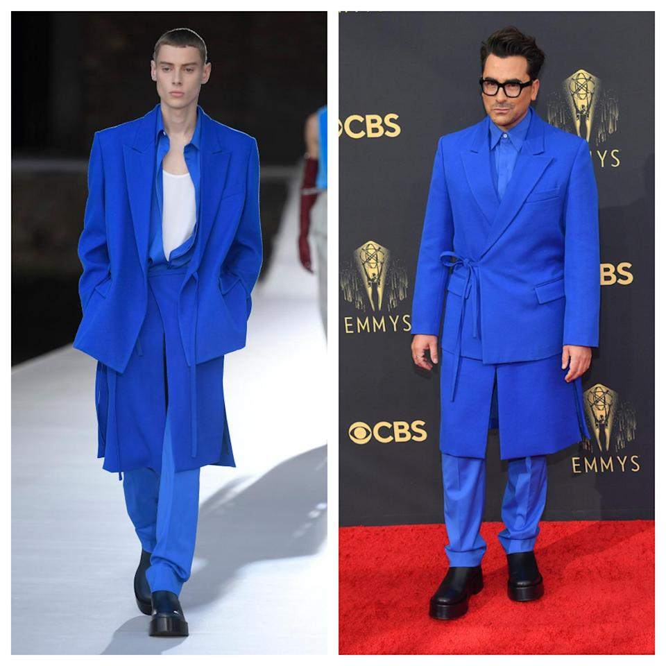 Dan Levy (right) in Valentino at the 2021 Emmys. - Credit: WWD