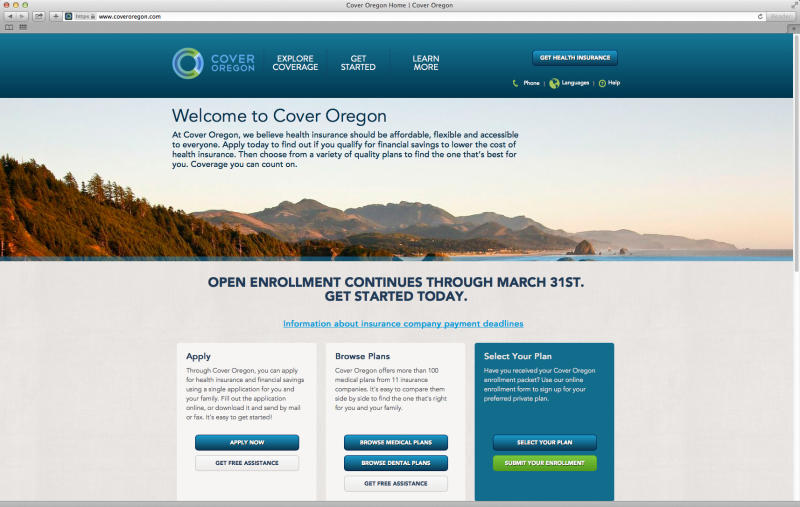 This screen image shows the website for Oregon's health care exchange. House Republicans intent on highlighting the woes of President Barack Obama's health care law need to look no further than their own back yards, some of which are traditionally liberal strongholds. In Oregon, the online portal has struggled to sign up a single individual, and Republican Rep. Greg Walden recently sent a letter to the U.S. Government Accountability Office pressing for an inquiry. Officials in both states insist they are working to fix the problems. (AP Photo/State of Oregon)