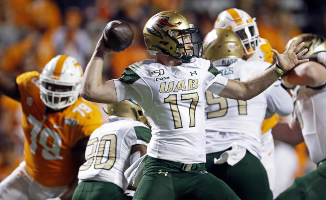 UAB quarterback Tyler Johnston III (17) throws to a receiver in the first half of an NCAA college football game against Tennessee, Saturday, Nov. 2, 2019, in Knoxville, Tenn. (AP Photo/Wade Payne)