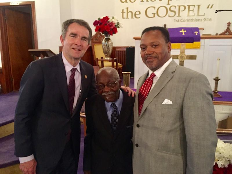 Gov. Ralph Northam, left, is pictured with church deacon Charles Bell, center, and Pastor the Rev. Kelvin F. Jones after the recent Rev. Dr. Martin Luther King celebration service at First Baptist Church in Capeville.