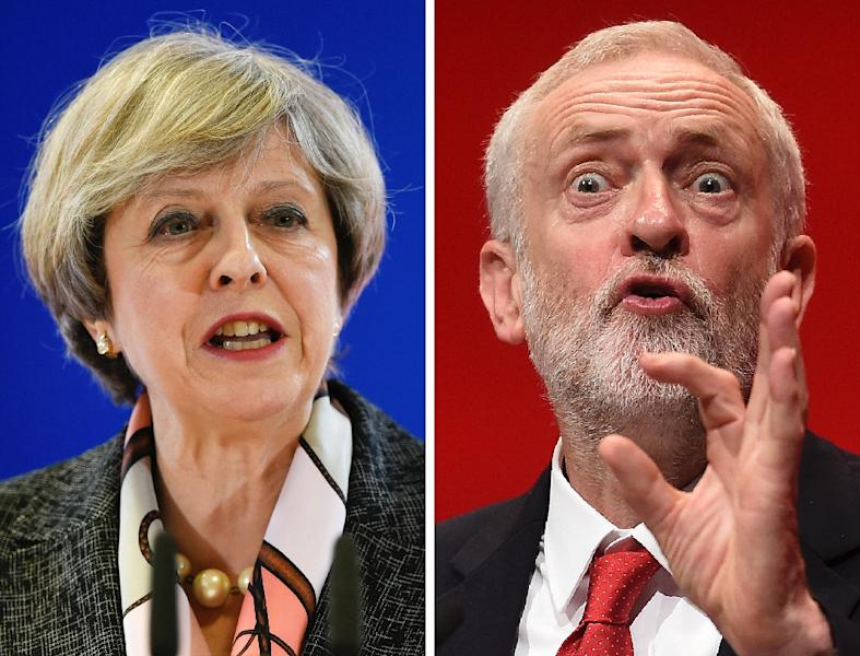 Britain's Labour leader Jeremy Corbyn called on Prime Minister Theresa May to resign after the election result (AFP Photo/JOHN THYS, Paul ELLIS)