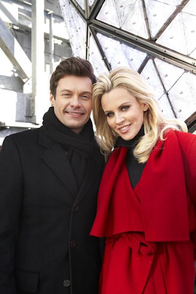 Entertainers Ryan Seacrest, left, and Jenny McCarthy, hosts of Dick Clark's New Year's Rockin' Eve on ABC, pose for a portrait Friday, Dec. 28, 2012 in New York. As New Year's Eve nears, Seacrest is focused on getting ready for the show, which, with related programming, will blanket ABC from 8 p.m. until past 2 a.m. EST. (Photo by Dan Hallman/Invision/AP Images)