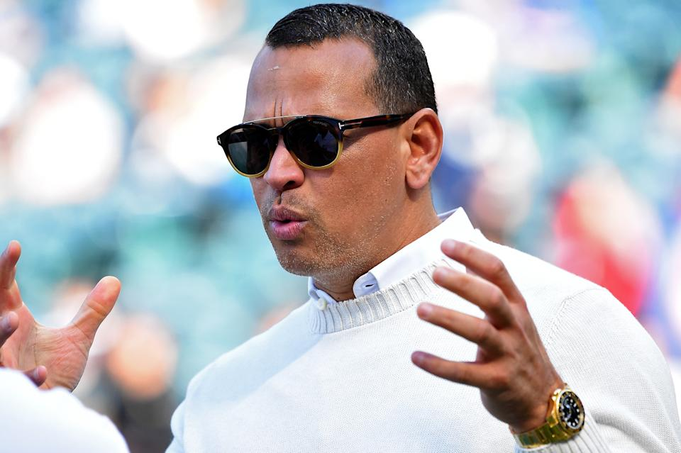 ANAHEIM, CA - APRIL 28:  Former New York Yankee Alex Rodriguez, currently with ESPN for Sunday Night Baseball, looks on during batting practice before the game Los Angeles Angels of Anaheim at Angel Stadium on April 28, 2018 in Anaheim, California.  (Photo by Jayne Kamin-Oncea/Getty Images)