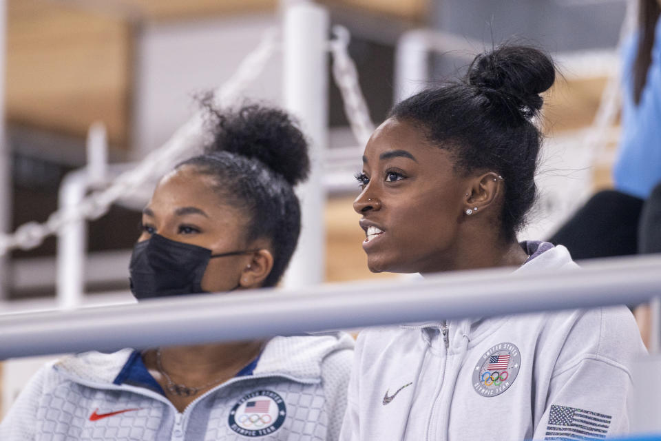 TOKYO, JAPAN - JULY 29: Simone Biles of the United State in the stands with team mate Jordan Chiles, watching the All-Around Final for Women at Ariake Gymnastics Centre during the Tokyo 2020 Summer Olympic Games on July 29, 2021 in Tokyo, Japan. (Photo by Tim Clayton/Corbis via Getty Images)